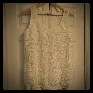 Cabi sleeveless lined crochet top